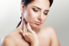 Pain. Throat Pain. Closeup Of A Sick Woman With Sore Throat Feel Stock Photography