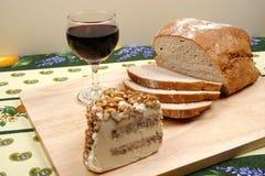Pain, vin et fromage Images libres de droits