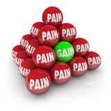 Pain Vs Gain Pyramid Balls Exercise Achieve Goal Fitness Royalty Free Stock Images