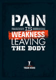 Pain is weakness leaving the body. Gym and Fitness Motivation Quote. Creative Vector Typography Poster Concept. Royalty Free Stock Photography