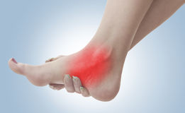 Pain in a woman ankle Stock Images