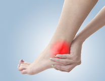 Pain in a woman ankle Royalty Free Stock Photos