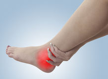 Pain in a woman ankle Stock Photography