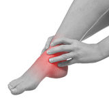 Pain in woman ankle Royalty Free Stock Photos