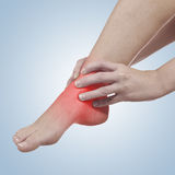 Pain in woman ankle Royalty Free Stock Photography