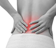 Pain in woman back. Female holding Stock Photography