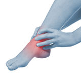 Pain in woman hamstring Stock Photos
