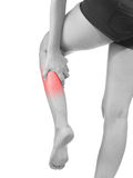 Pain in woman hamstring. Human Calf pain with an anatomy injury caused by sports accident or arthritis as a skeletal joint problem medical health care concept Stock Photography
