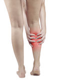 Pain in woman hamstring Stock Images