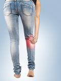 Pain in woman hamstring Royalty Free Stock Photos