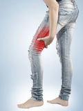 Pain in woman hamstring Royalty Free Stock Photography