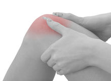 Pain in a woman knee Royalty Free Stock Photo