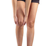 Pain in woman knee. Stock Photo