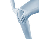 Pain in woman knee. Royalty Free Stock Photo