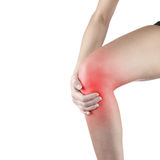 Pain in woman knee. Stock Photos