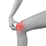 Pain in woman knee. Royalty Free Stock Photos