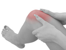 Pain in a woman knee Stock Image