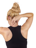 Pain in woman neck. Royalty Free Stock Photo