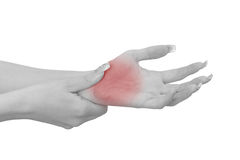 Pain in a woman palm Royalty Free Stock Photo