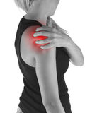 Pain in woman shoulder. Royalty Free Stock Images