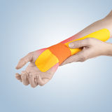 Pain in woman wrist. Royalty Free Stock Photo