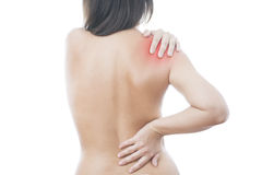 Pain in the women's shoulder Royalty Free Stock Photo