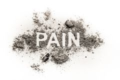 Pain word as physical or emotional wound. Pain word as physical or emotional sore, wound ache sickness health concept written in pile of dust ash sand and trauma stock photo