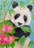 Painding, Panda im Bambus mit Blumen stock abbildung