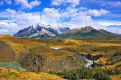 Paine river bends in a horseshoe Royalty Free Stock Photos