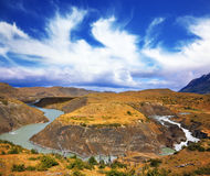 Paine river bends in a horseshoe shape Royalty Free Stock Images