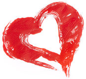 Pained red heart on white Royalty Free Stock Photography
