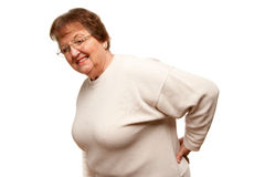 Pained Senior Woman with Backache on White Royalty Free Stock Image