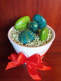 Pained stones-cactus. Painted stones-cactus in vase with red band Stock Images