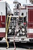 Painel da bomba da viatura de incêndio foto de stock royalty free