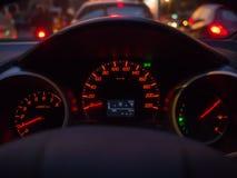 Painel da luz do medidor de velocidade do carro Foto de Stock Royalty Free