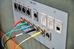 Painel de conector audio e video Fotos de Stock Royalty Free