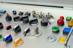 Painel de controle com botões, chave e interruptor fotos de stock