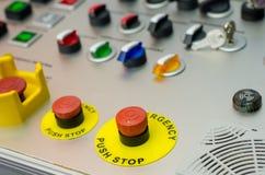 Painel de controle com botões, chave e interruptor imagem de stock royalty free