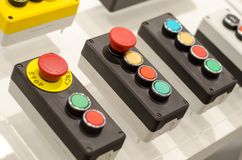 Painel de controle com botões fotografia de stock royalty free