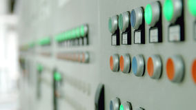 Painel de controle da fábrica com botões fotos de stock royalty free