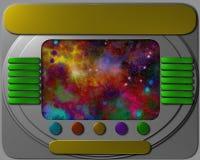 Painel de controle da nave espacial com vista ilustração do vetor