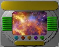 Painel de controle da nave espacial com vista ilustração royalty free