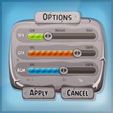 Painel de controle de pedra dos desenhos animados para o jogo de Ui Foto de Stock