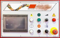 Painel de controle de uma máquina de reciclagem Fotografia de Stock