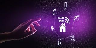 Painel de controle esperto da casa na tela virtual IOT e conceito da tecnologia da automatização imagem de stock royalty free