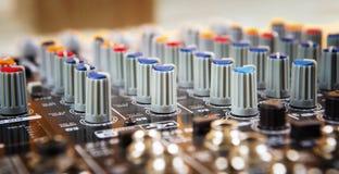 Painel de controle sadio do misturador da música Fotografia de Stock