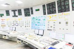 Painel de controlo do reator do bloco do central nuclear Fotografia de Stock