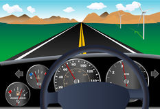 Painel do carro com estrada Imagens de Stock Royalty Free