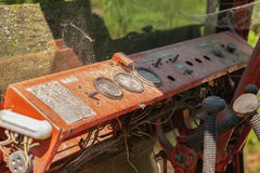 Painel do metal do vintage na cabine do trator Imagem de Stock Royalty Free