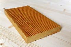 Painel do terraço feito da madeira do larício Foto de Stock